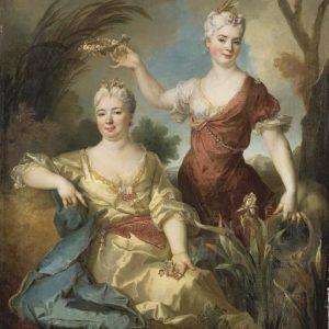 schilderij-history-nicolas-de-largilliere-portrait-of-baroness-of-the-leu-aubilly-and-her-daughter-madame-de-guinaumont